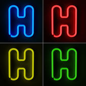Neon Sign Letter H — Stock Photo