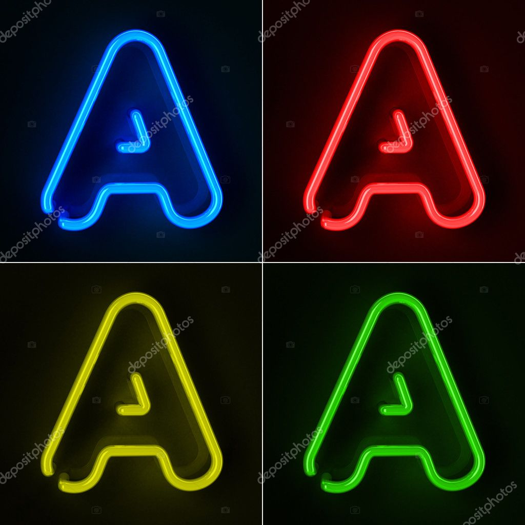 Highly detailed neon sign with the letter A in four colors  Stock Photo #8884655
