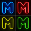 Neon Sign Letter M — Стоковое фото