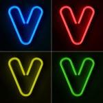 Neon Sign Letter V — Stock Photo