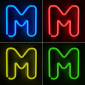 Neon Sign Letter M — Stock Photo
