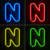 Neon Sign Letter N — Stock Photo