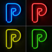 Neon Sign Letter P — Stock Photo