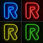 Neon znak litera r — Zdjęcie stockowe