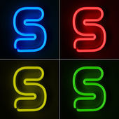 Neon Sign Letter S — Stock Photo