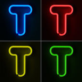 Neon Sign Letter T — Stock Photo