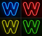Neon Sign Letter W — Stock Photo
