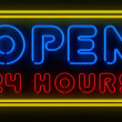 Open 24 Hours Sign — Stock Photo