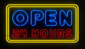 Open 24 Hours Sign — 图库照片