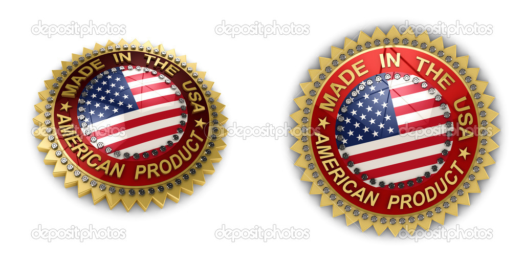 Two shiny seals with Made in the USA text on them over white background  Stock Photo #9915531