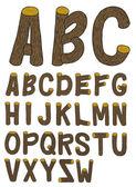 Wood font — Stock Vector