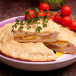 Plate With Italian Stuffed Pie — Stock Photo