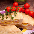 Stuffed Pie And Cherry Tomatoes — Stock Photo