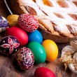 Easter Card With PastierAnd Colorful Eggs — Stock Photo #10045902