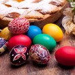 Colorful Easter Eggs And Pastiera — Stock Photo #10045910