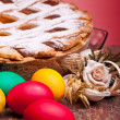 Red Eggs And Pastiera — Stock Photo #10045932