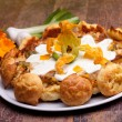 Gougère With Vegetables, Calendula Flowers And Green Onions — Стоковая фотография