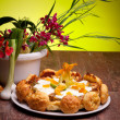 Gougère Cake With Vegetables And Spring Flowers — Stock Photo #10046006