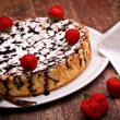Cheesecake With Chocolate Decorated With Strawberries - Stock Photo