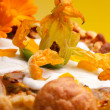 Zucchini Flower On Top Of Gougère Cake — Stock Photo #10046215