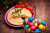 Easter Table With Stuffed Pie And Eggs — Stock Photo