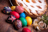 Easter Card With Pastiera And Colorful Eggs — Stock Photo