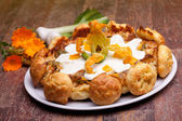 Gougère With Vegetables, Calendula Flowers And Green Onions — Stock Photo