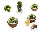 Green Olives Collage — Stock Photo