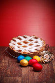 Neapolitan Pastiera And Colorful Easter Eggs — Stock Photo