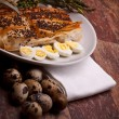 Italian Appetizers - Asparagus In Crust With Quail Eggs - Stock Photo