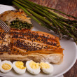 Mediterranean Recipes - Asparagus Rolls And Quail Eggs - Stock Photo