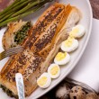 Asparagus In Crust With Quail Eggs - Stock Photo