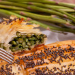 Closeup Of Rolls Of Asparagus In Crust - Stock Photo