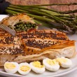 Asparagus In Crust With Poppy Seeds And Quail Eggs - Stock Photo