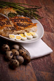 Italian Appetizers - Asparagus In Crust With Quail Eggs — Photo