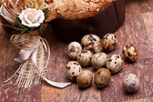 Easter Still Life With Quail Eggs — Stock Photo