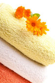 Clean Towels With Calendula Flowers — Stock Photo