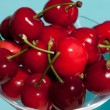 Closeup Of Glass With Cherries — Stock Photo