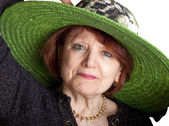 Senior Woman With Green Hat — Stock Photo