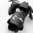 Camera And Lens In Snow — Stock Photo