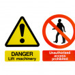 Stock Photo: Two Warning Hazard Signs