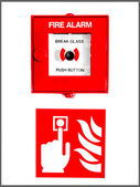 Fire Alarm Button And Sign — Stock Photo