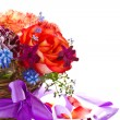 Stock Photo: Bright bouquet of roses and spring flowers