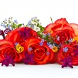 Bouquet of roses and spring flowers — Stock Photo