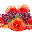 Stock Photo: Beautiful bouquet of red roses with carnations