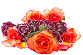 Beautiful bouquet of red roses with carnations — Stock Photo