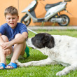 Stock Photo: Boy with his dog