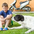 The boy with his dog — Stock Photo