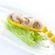 Boiled octopus with lemon slice — Stock Photo