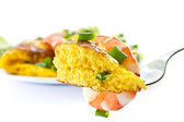 Omelet with cooked shrimp and greens — Foto Stock